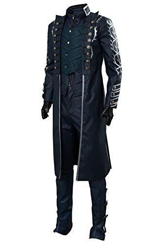 Men's DMC V Vergil Cosplay Costume Devil May Cry Full Set Outfit,Large