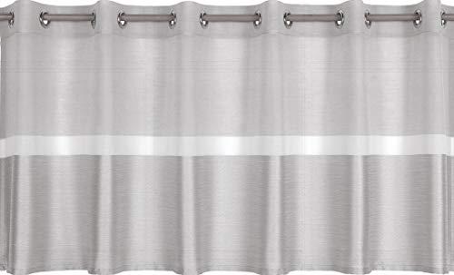 Startex 2248 Ösenpanneaux, hochwertiger Batistvoile mit elegantem Dekostoff in Canvas Optik, Grau, 50 x 140 cm