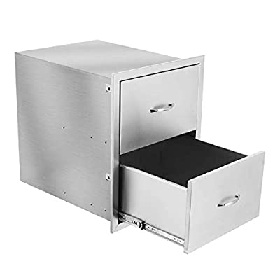 Nurxiovo 17.9x24.2 Inch Outdoor Kitchen Drawers with Chrome Handle Flush Mount Double Access BBQ Drawers Stainless Steel for Outdoor Kitchen or BBQ Island