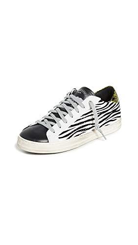 P448 Damen-Sneaker John Pink Python Bedruckt Leder Low-Top Italienischer Sneaker, Schwarz (Weiß Zeb), 39 EU