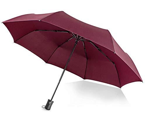 Regenschirm Automatischer boy ® Taschenschirm mit 8 Edelstahl-Rippen Windsicher & Sturmfest, windtest bei 140 km/h, Kompakt, Leicht& Stabiler Reise Taschenschirm für Frauen und Männer, Rot