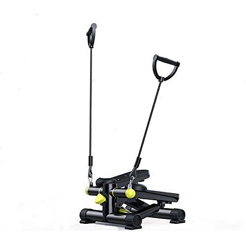 Mini stepper con Power Ropes, aerobica, brucia rapidamente i grassi, in acciaio inox, silenzioso, attrezzo per l'allenamento domestico, attrezzo fitness stepper per la casa, fino a 150 kg