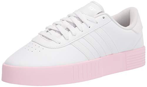 adidas womens Court Bold Sneaker, White/White/Pink, 6.5 US