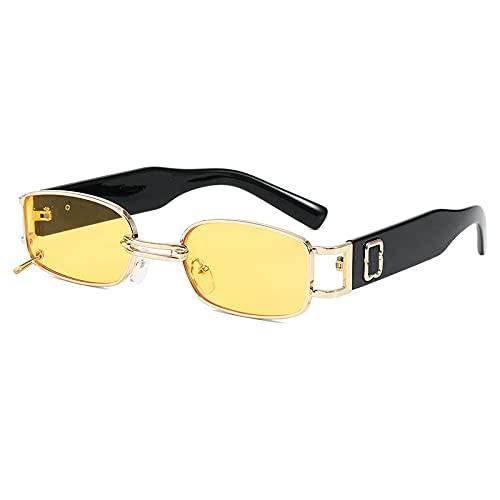 JINZUN Gafas de Sol de Moda Tendencia conducción Gafas de conducción Gafas de Sol de protección UV Unisex Marco Dorado película Amarilla