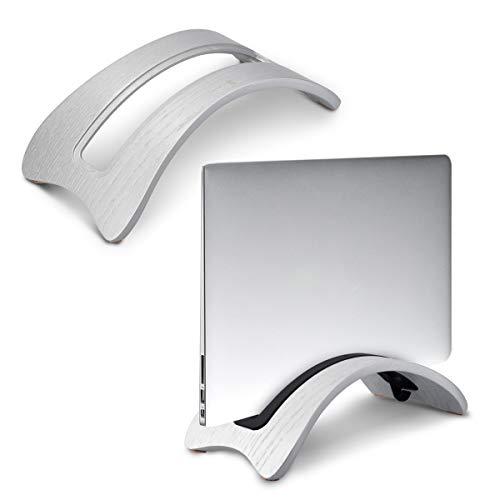 kalibri Stand in legno naturale per Portatile - Sostegno Appoggio Verticale per Tablet Pc - per Modelli Vecchi di MacBook 2010-2017 - Argento