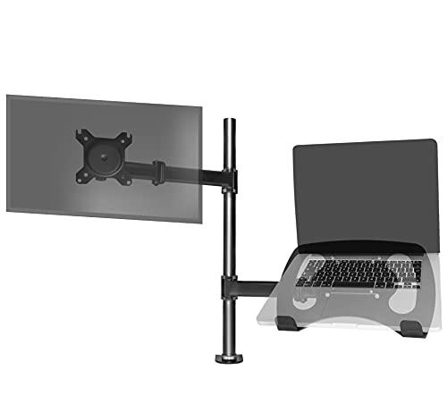 Duronic DM25L1X1 Supporto Monitor da scrivania con Morsetto e Piattaforma per PC Portatile – Braccio Porta Monitor Inclinabile ed orientabile - Compatibilità Universale con schermi TV VESA 100 * 100