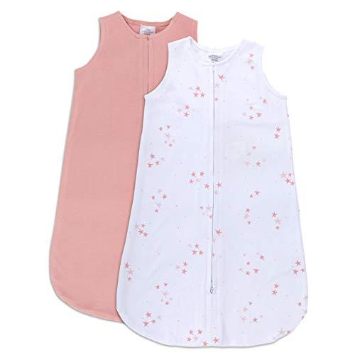 Ely's & Co. Manta de algodón 100% para bebé, Saco de Dormir sólido, Rosa y Malva Estrellas Rosas, 2 Unidades - Multi - 6-12 Meses