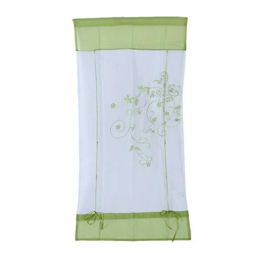 JINLL Fenstervorhang, Stab Anhebbare Küche Badezimmerfenster Römischer Vorhang Floral Sheer Voile, Heimtextilien, Grün