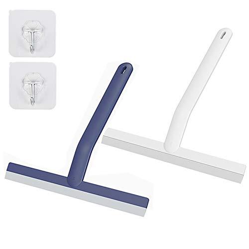 Duschabzieher 2 Stück Allzweck-leichter Badabzieher für Duschtüren, Badezimmer, Spiegel, Fliesen und Autofenster mit Haken, 25,4 cm (weiß/blau)