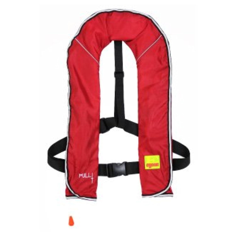 ライフジャケット ベストタイプ 手動膨張式 全10色 CE認証取得品 ISO基準適合 男女兼用 フリーサイズ (レッド)