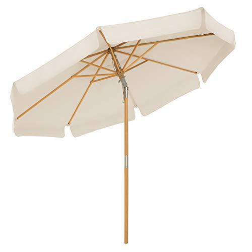 SONGMICS Sonnenschirm 270 cm, achteckiger Gartenschirm, Sonnenschutz bis UPF 50+, Schirmmast und Schirmrippen aus Holz, knickbar, ohne Ständer, Outdoor, Balkon, Terrasse, beige GPU270M01