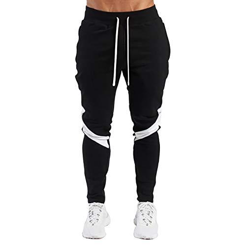 LeerKing Joggers Pantalones Deportivos para Hombre y Niños Pantalones de Chándal Ajustados con Cordón para Gimnasio Fitness Running Ciclismo Senderismo y Ropa de Hogar, Negro XL