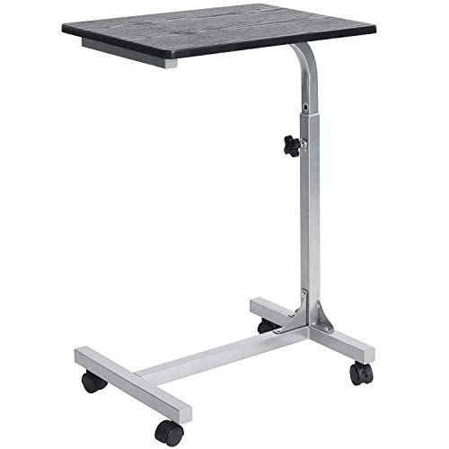 Coavas Bed Side Table C Portable Medical Rolling Table with Lockable Wheels, Overbed TV Tray Table with 3 Adjustment Levels, Notebook Laptop Desk and Eating Breakfast, Black (18.9x14.6x26.4-31.1 inch)