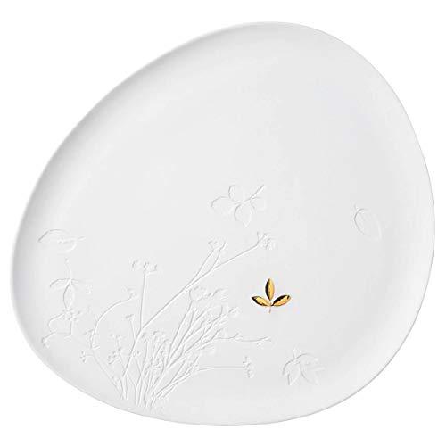 Räder 14133 ZUHAUSE - Teller - Porzellanteller - Blatt - weiß/Gold - Porzellan - 34x30x1,5cm