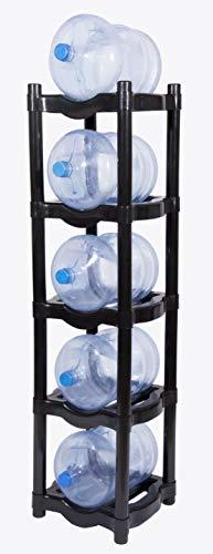 H2ORGANIZER Rack de Plástico para 5 Garrafones, Resistente (Negro)