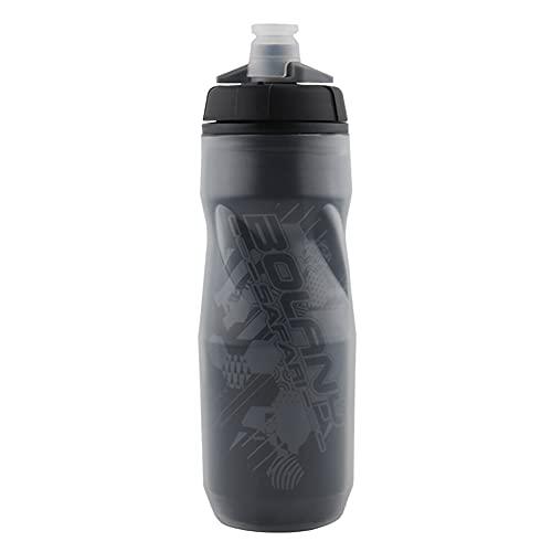 Botella de agua para bicicleta de montaña, para exteriores, para bicicleta, aislamiento térmico de doble capa, resistente al hielo, aislamiento térmico a prueba de fugas, sin BPA (negro)