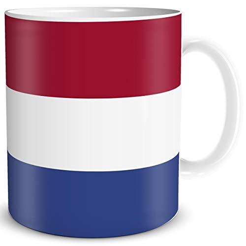 TRIOSK Tasse Flagge Niederlande Länder Flaggen Geschenk Netherlands Souvenir Nederland für Reiselustige Frauen Männer Arbeit Büro Weltenbummler