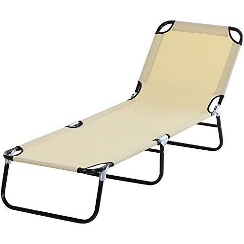 Outsunny Tumbona Plegable Reclinable con Ángulo Ajustable de 4 Posiciones para Jardín Exterior Piscina Terraza Camping Carga 120 kg 190x56x28 cm Beige