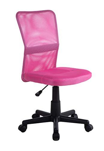 Silla para ordenador reclinable Mueblix.com con respaldo de malla rosa