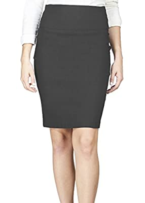 Fashion collection Knee Length Skirt Wide Band Back Zipper Extra Stretch (See More Colors and Sizes)