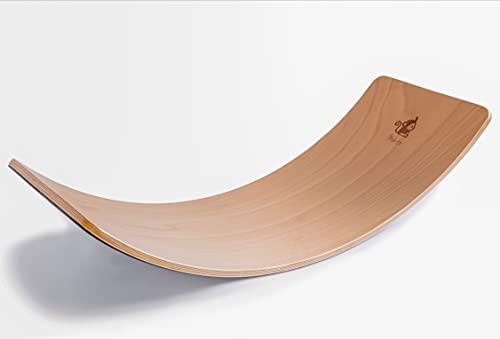 Mikito Balance Board Holz für Kinder und Erwachsene mit Filzunterseite | Montessori Lernspielzeug Holzbrett vielfältig einsetzbar | Balancier Brett | Yoga Board
