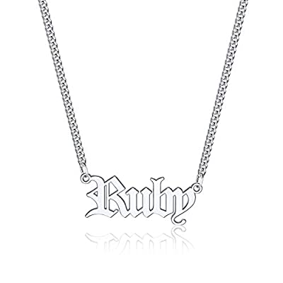 Amazon - Save 50%: Iefil Custom Name Necklace Personalized, Stainless Steel Old English Custom Name…