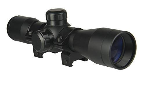 """TWP 4x32 Compact Hunting Crossbow Archery Scope, Multiple Range Reticle, 1"""" Tube and Mid-Height Weaver Ring Mount"""
