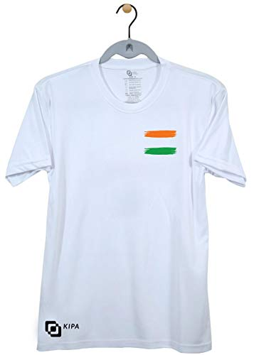 KIPA Polyester and Lycra Indian Tri Colour Round Neck T-Shirt (White, Medium)