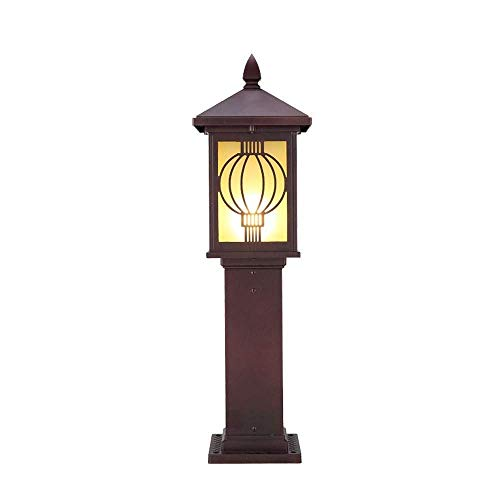 Nfudishpu Outdoor Lawn Lamp IP54 Waterproof Vintage Column Lamp Glass Lantern Street Pathway Retro Post Pillar Light E27 Aluminum Exterior Wall Villa Patio Landscape Table Lamp For outdoor