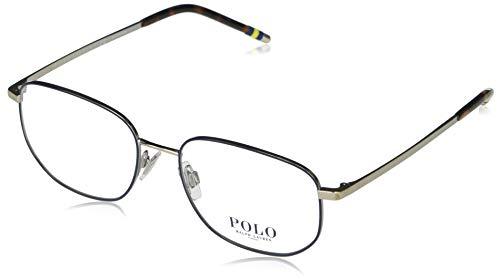 Polo Ralph Lauren Ph1194 Pillow Prescription Gafas Marcos para hombre, Azul sobre plata mate / lente demo, 55 mm