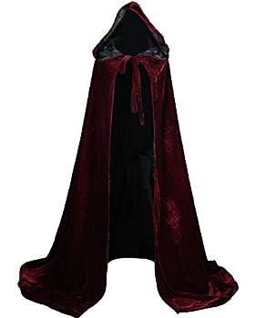 LuckyMjmy Velvet Renaissance Medieval Cloak Cape Lined with Satin  Medium Wine Red-Black