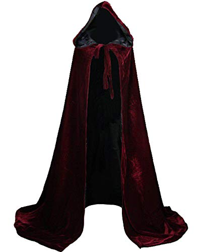 LuckyMjmy Velvet Renaissance Medieval Cloak Cape Lined with Satin (Large, Wine red-Black)