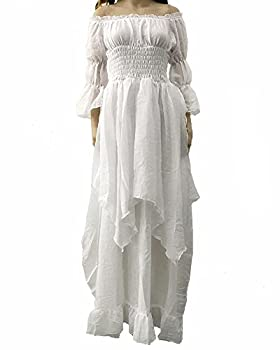 LY-VV Women Plus Size Off Shoulder Renaissance Medieval Dress Costume White XXX-Large