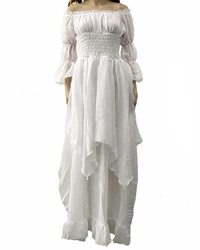 LY-VV Women Plus Size Off Shoulder Renaissance Medieval Dress Costume White, Large