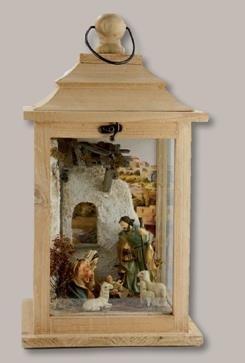Unbekannt Krippenlaterne Laterne Natur mit Heilige Familie und Schafen LED 22x22x39,6cm
