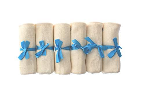 Premium Bambus Baby Waschlappen (6 Stück) – Ultra weich und 100% natürlich, maschinenwaschbar, Geschenkset