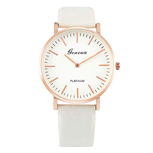 Unique Turning Blue Under Sunlight Watches for Ladies, Durable Quartz Movement Wristwatch for Student, Stylish White Leather Strap Wristwatch for Females