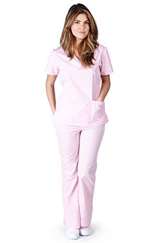 Natural Uniforms Women's Mock Wrap Scrub Set (Pink) (Small)
