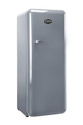 Vintage Industries ~ Retro-Kühlschrank Havanna in silber | 50er Jahre Look | Größe 152,5 cm | Kühl-Gefrier-Kombination 302l | Getränke-Kühlschrank mit Gefrierfach/Gefrierschrank 21l (Silber)