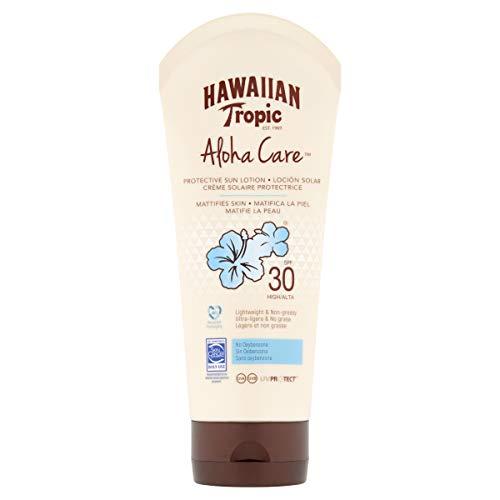 Hawaiian Tropic BODY Aloha Care SPF 30 - Crema Solar Fotoprotectora Sin Oxibenzona, Protección Alta, Sin Grasa y Matificante, 180 ml