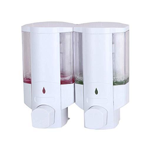 LHQ-HQ Dispensador de jabón montado en la pared blanca de la bomba manual de la mano de ducha del champú gel o Gel limpiador de manos Gel Botella for Ministerio del hotel 300ml dispensador de jabón X2