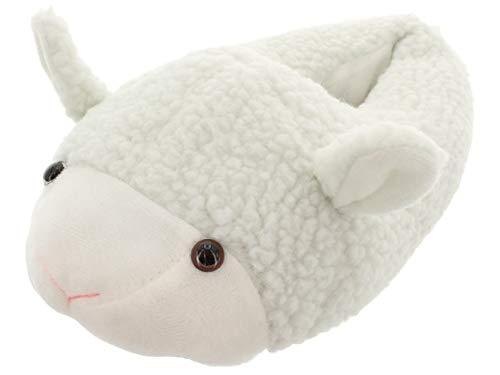 MIK Funshopping Kuschel-Hausschuhe Schaf aus Plüsch (40/41 EU, Weiß)