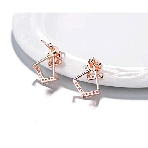Pendientes Mujer Pendientes De Botón De Perlas De Circonita De Moda De Plata De Ley 925 Pendientes De Mujer-Rose_Gold