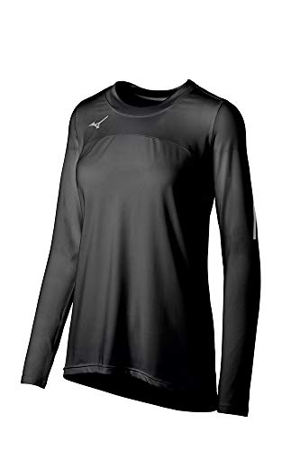 Mizuno Women's Techno VII Long Sleeve Volleyball Jersey, Black, Small