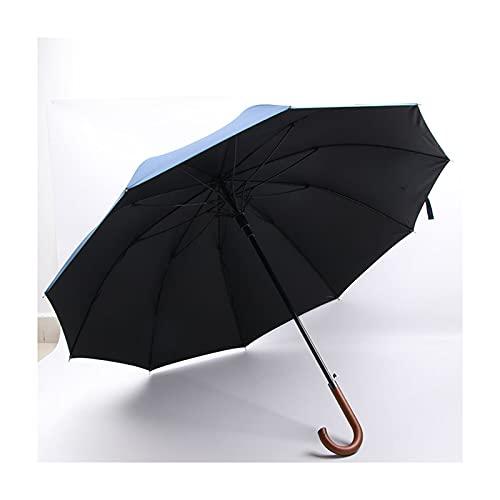 DTKJ 10 Costillas Golf Paraguas, Fuerza - Abarcadero Extra Fuerte - AUTOMÓVIL - AUTOMÁTICO HANGO DE Madera - 27 Pulgadas de Paraguas con Dosel