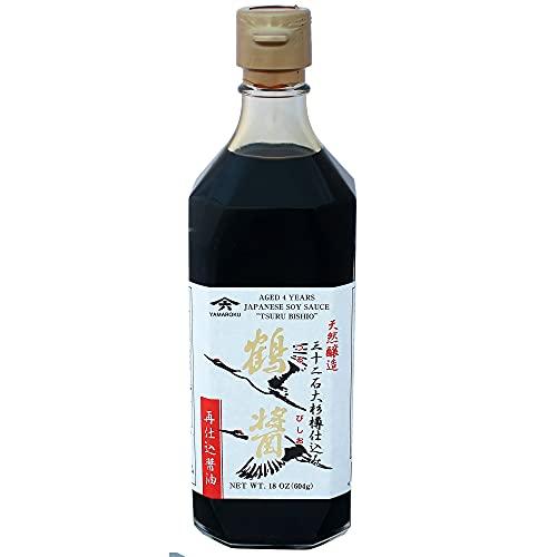 """Yamaroku Shoyu Pure Artisan Dark Sweet Japanese Premium Gourmet Barrel Aged 4 Year Soy Sauce """"Tsuru Bisiho"""", 18oz (532ml)"""