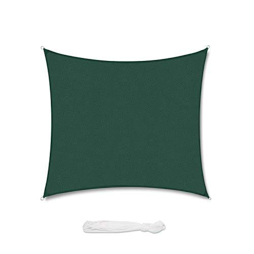 Sekey Sonnensegel Sonnenschutz Quadrat HDPE Durchlässig Atmungsaktiv Tear Resistant Wetterschutz UV-Schutz, für Outdoor Garten Terrasse, mit Seilen, 3×3m Grün