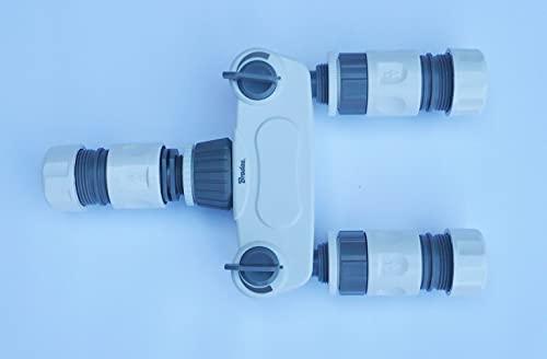 Farm & Field Hardware Divisor de manguera de 3 vías, con 2 grifos de encendido/apagado + 3 conectores hembra de manguera (conexión de manguera de 3/4')