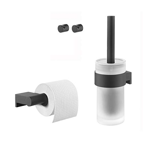 Tiger Bold Badaccessoire-Set, Edelstahl, Schwarz-matt, 4-teilig, bestehend aus Toilettenpapierhalter, 2 x Haken und WC-Bürste