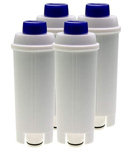 Lot de 4 filtres à eau compatibles avec les machines à café DeLonghi Autentica ECAM23 Dedica Dinamica Eletta ESAM6720 Maestosa Perfecta PrimaDonna Magnifica S, équivalent au DLSC002 (14465)